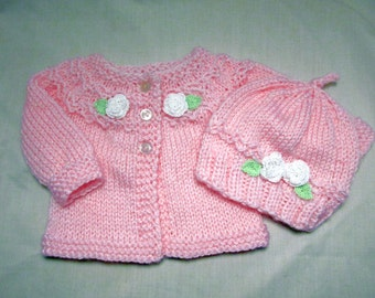 Knit Baby Girl Sweaters And Hat Set, Newborn to 3 Months, Crochet White Roses, knitted gifts to order, Baby Shower Gift