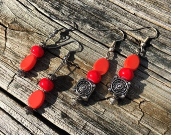Two Pairs of Ceramic Coral Dangling Earrings