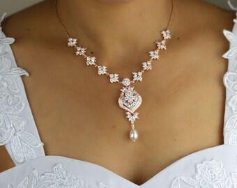 Rose  gold necklace bridal necklace wedding necklace bridal jewelry wedding jewelry zirconia necklace