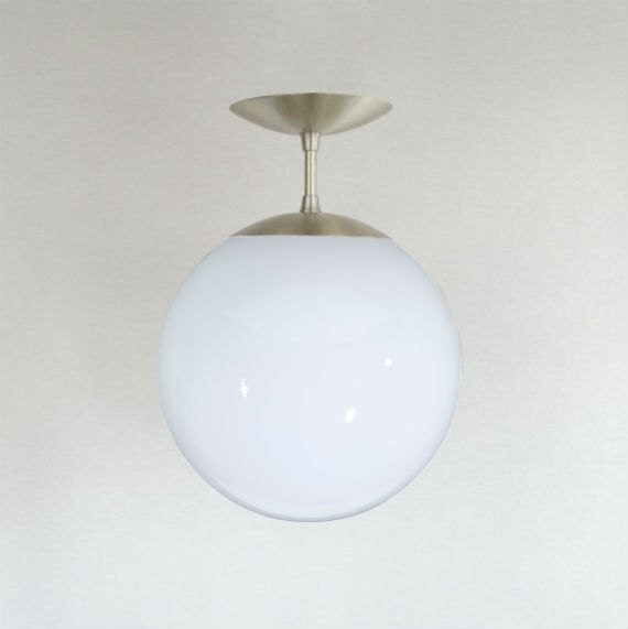 Mid century modern semi flush 10 white glass globe for Mid century modern globe pendant light