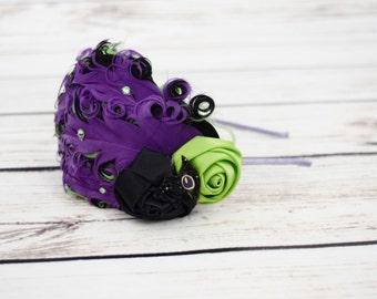 Witch Hat - Adult Headband - Purple Lime Green Black - Witch Headband - Feather Headband - Witch Costume - Halloween Headbands - 1920s
