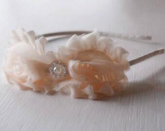 Cream Shabby Rose Headband - Cream Bridesmaid Headband - Creme Headband - Cream Flower Headband - Cream Adult Headband - Tween Headbands