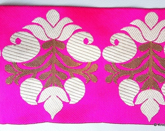 Fuchsia Pink Fabric Trim With Beige And Gold Thread Embroidery, Approx. 10.3cm Wide - 140316L264A