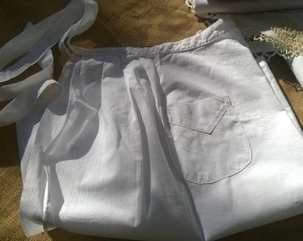 Vintage French Maid Apron White Cotton Front Pocket