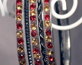 Bangle Bracelets Vintage, Stackable, Rhinestone and Silver, Bling