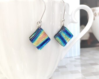 Glass Earrings, Yellow and Pink with Blue Stripe Dichroic Glass Earrings on Long Sterling Silver Hooks