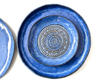 Set Of 3 Handmade Pottery Plates- Aztec Blue Organic Shape Textured Dinnerware set -Blue Stoneware Plates -Stoneware Dinnerware Plates set -