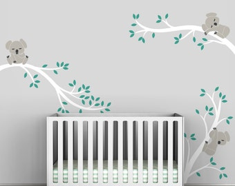 Koala Tree Branches Wall Decal Baby Nursery Wall Decor  by LittleLion Studio