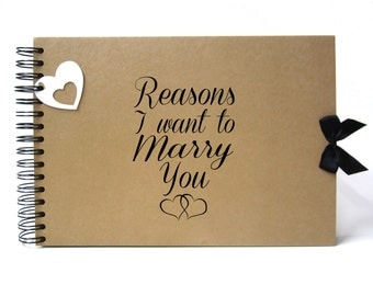 Scrapbook, A5 A4 Reasons I Want to Marry You, Card Pages, Photo Album, Keepsake, Engagement Book