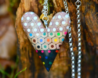 Heart pendant from colored pencils