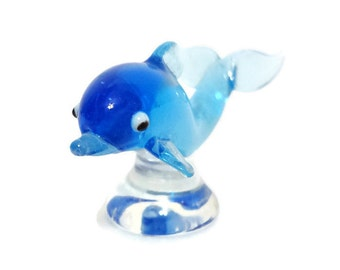 Blue Dolphin Blown Glass Animal Figurine Collectible