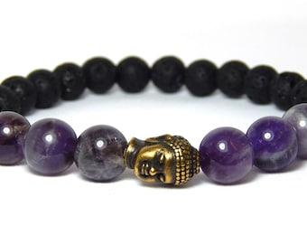 Men's Purple Bracelet, Mens Buddha Bracelet, Volcano Rock Bracelet, Mens Yoga Bracelet, Men's Gemstone Bracelet, Gift for Him, Men Bracelets