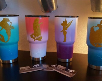 Ombre|Ozark Trail|Yeti|Rtic|Custom|Order|Cinderella|Ariel|Tinkerbelle|Rapunzel|Adults|Kids|Water Bottles|Disneyinspired|princess|insulated|