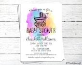 Watercolour Baby Shower invite // Personalized Printable Rainbow Watercolour Baby Shower Invitation // Rainbow Baby Shower Invitation