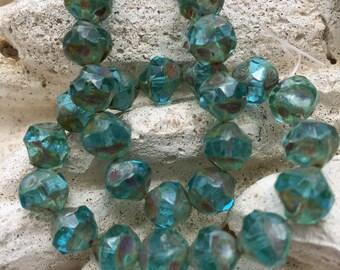 8mm aqua blue central cut czech glass beads, turquoise central cut beads