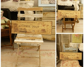 """Miniature label printed sign in wood, """"Antique Toys"""", Decorative accessory for a dollhouse in 1:12th scale"""