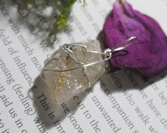 OOAK Rutilated Quartz wire wrapped pendant