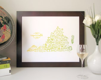 Virginia Wine Map Poster –White Wine Color