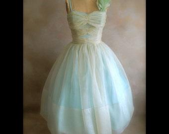 50s Blue Silk Organza Prom Dress