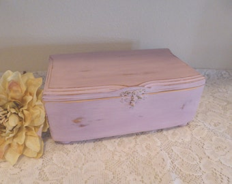 Lavender Pink Wood Jewelry Trinket Memory Box ~ Distressed ~ Upcycled