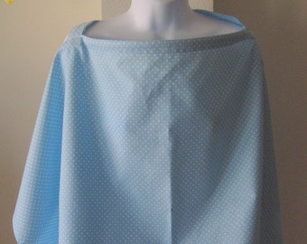 Blue Nursing Cover and Burp Cloth Set