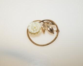 """Vintage Signed Van Dell Ivory Rose Gold Fill 1.25"""" Pin Brooch"""