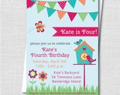 Girl Springtime Birthday Party Invitation - Spring Garden Themed Birthday - Digital Design or Printed Invitations - FREE SHIPPING