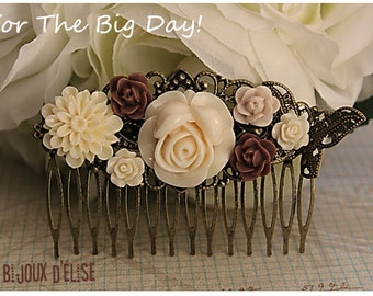 Sale - Ivory and Coffee Flower Hair Comb Wedding Cimb Bridal Comb Bridesmaid Comb Art Nouveau Style (HC20)