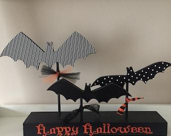 Halloween Wooden Bats, Happy Halloween
