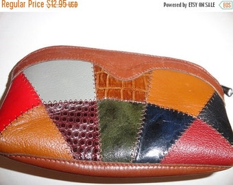 VALENTINES 50% OFF Vintage Leather makeup bag 8 inch by 4 inch