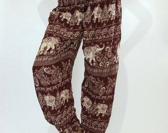 SM0103 Smocked Waist Baggy Bohemian Harem Pants Gypsy Pants Rayon Pants,Aladdin Pants Maxi Pants Boho Pants