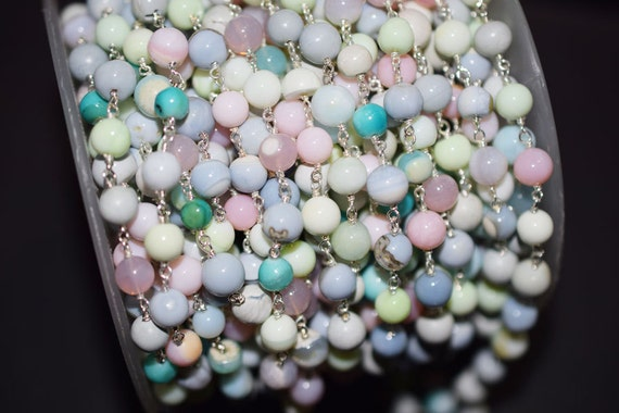 Beautiful 1 Foot Natural Peruvian Multi Opal Smooth Round