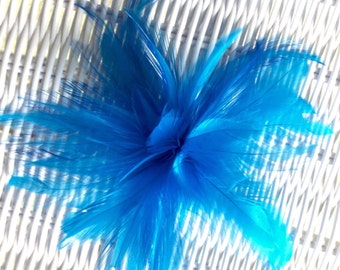 Turquoise Blue feather fascinator hair clip accessory Wedding bridal