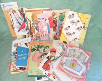Child retro birthday card lot / over 50 vintage greeting cards  used