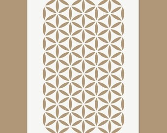 The Flower of Life Continuous Pattern - Sacred Geometry Stencil