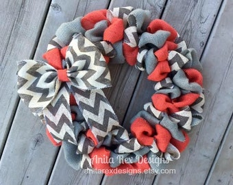 Spring Burlap Wreath, Summer Burlap Wreath, Coral Grey Chevron Wreath, Spring Wreath, Spring Decor