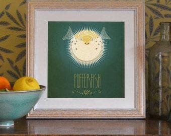 "Pufferfish Print Original Design Animal Alphabet Poster Art Deco Vintage 1940's Childrens Baby Nursery 7x7"" Square Cute Beautiful Retro"