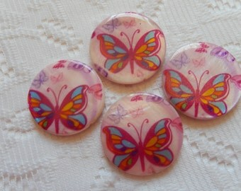 4  Pink Purple & Yellow Butterfly Mother Of Pearl Resin Round Flat Coin Beads  30mm
