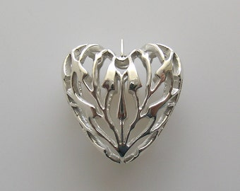 Sterling Heart Bamboo Open Puffed Design Pendant Charm