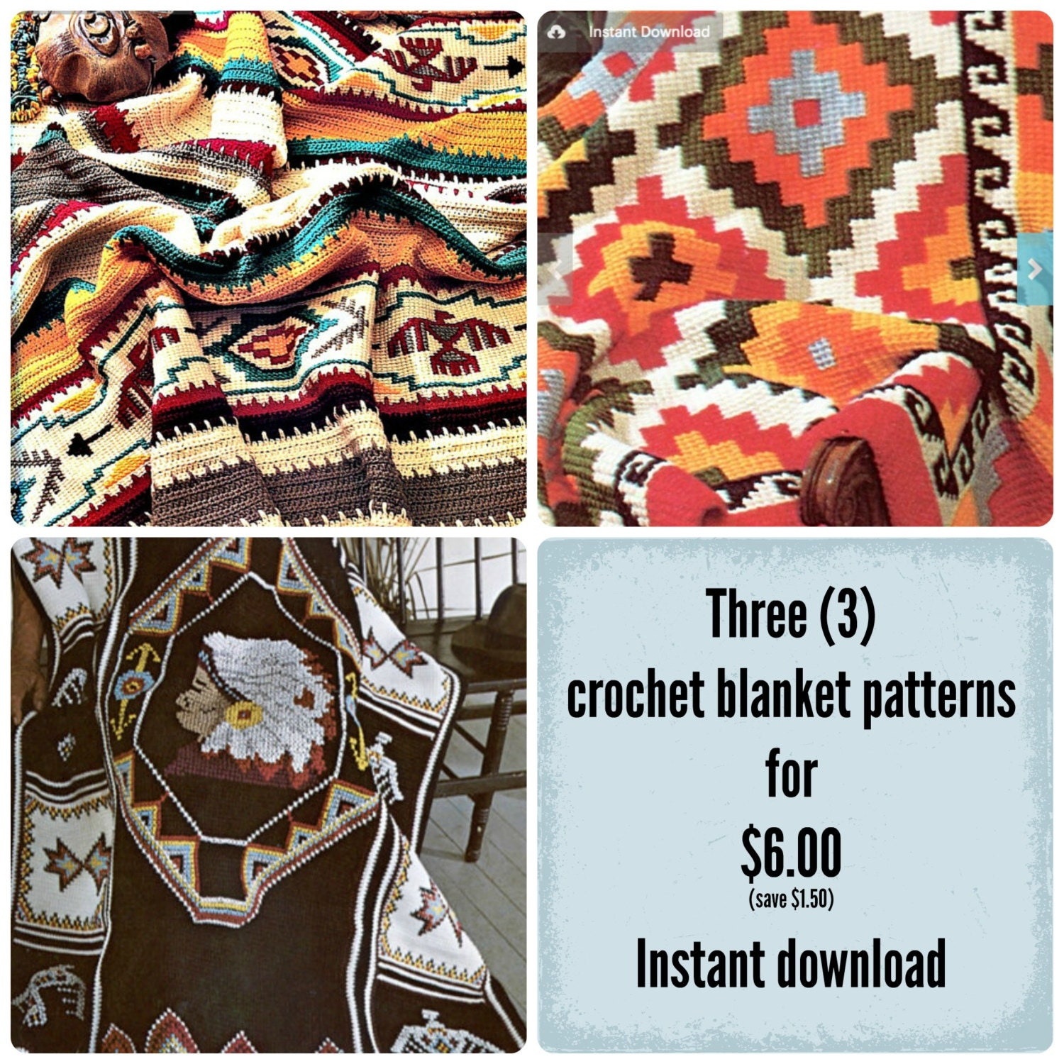 Indian Crochet Blanket Patterns Three 3 Afghan Pattern