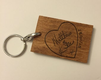 SINGLE-SIDED Wooden Keychain with Wood Burned Handwriting