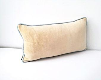 Velvet Ivory Beige Throw Pillow, Cotton Velvet Backrest Cushion, Free Shipping