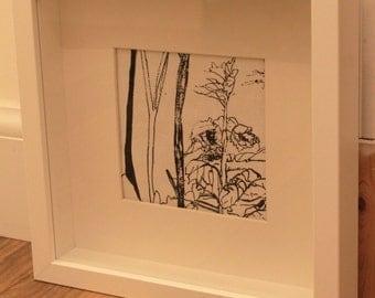 Branches fabric black & white print (Square white box frame)