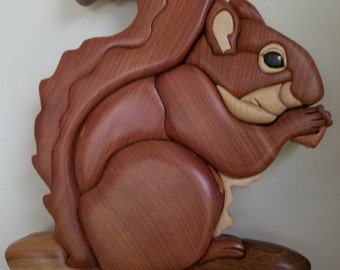 Red Squirrel Intarsia   FREE SHIPPING