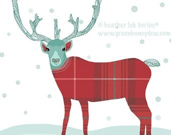 Reindeer - Limited Edition Fine Art Print - Digital Painting - Whimsical, Cute, Christmas, Xmas, Holiday Red, Green, White, Tartan, Snow
