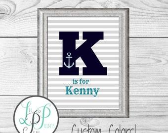 Personalized Nautical Name Print, Nautical Nursery Name, Custom Nursery Name, Anchor Name Print, Nautical Baby Shower Gift, Custom Baby Gift