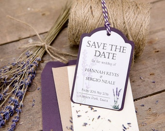 Lavender Wedding Save The Date Luggage Tags - Set of 25 Plus Free Envelopes