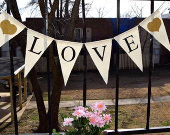 Banner Love Valentine's Day  Bunting Garlands  Burlap Banner Valentine's Decor