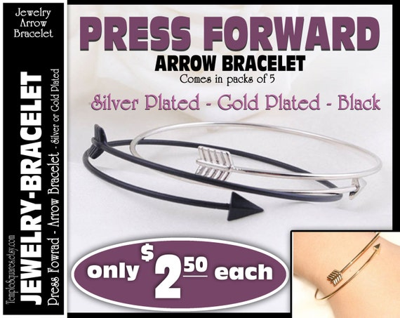 Arrow Bracelet - Pack of 5- YW Young Women Press Forward 2016 mutual theme. Gift Jewelry Charm Bracelet LDS Craft Supply
