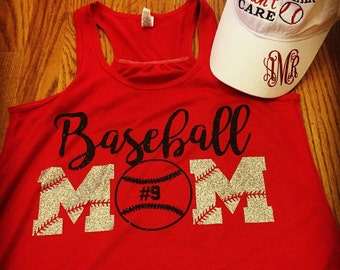 Baseball mom racerback tank and super cute hat to match